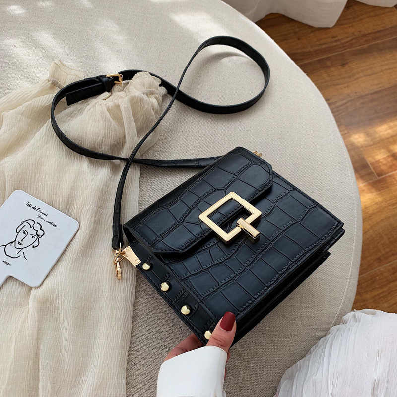 Stone Pattern PU Leather Crossbody Bags For Women 2019 Small Lock Shoulder Messenger Bag Lady Travel Handbags and Purses