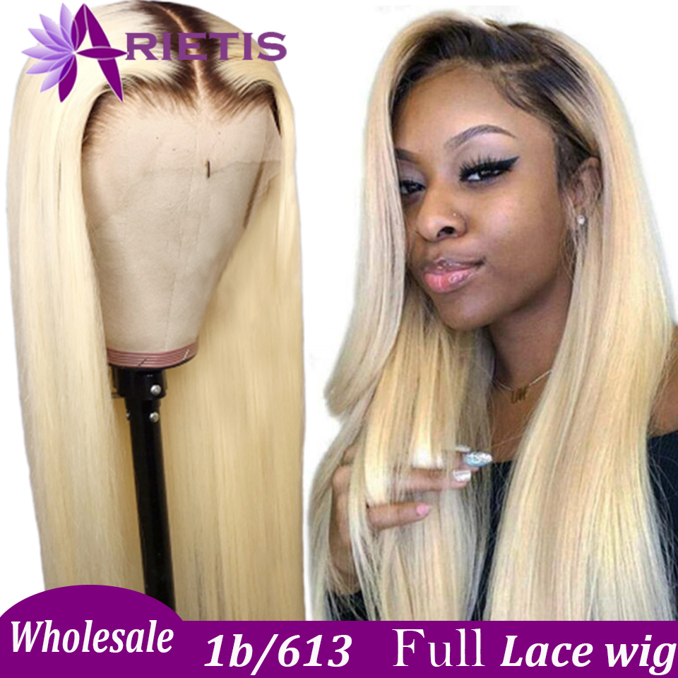 1B/613 Full Lace Wig Brazilian Straight Human Hair Wigs 1B/613 Blonde Wig Pre-plucked With Baby Hair Arietis Remy Hair