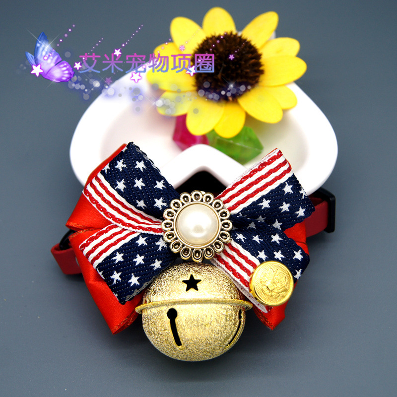 Handmade Bow Union Flag Pet Collar Large Bell Dog Traction Bowtie