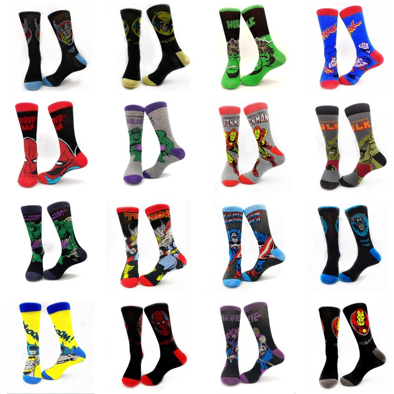 Fashion Men Cotton Colorful Socks Happy Cartoon Superhero Socks Letter Avengers Batman Marvel Comics Marvel Unisex Socks