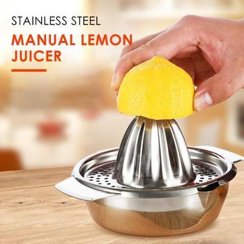 Manuelle Zitrone Orange Entsafter Filter Schüssel Edelstahl Hand Manuelle Obst Zitrone Orange Saft Obst Squeezer 17x9cm