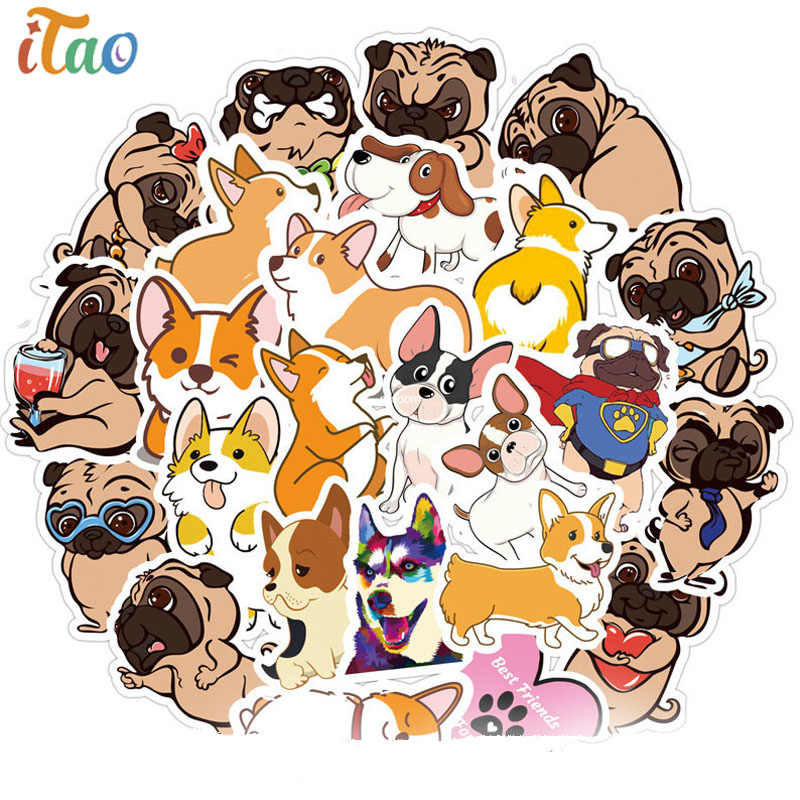 10/20/30/40/50 Stks/pak Pvc Cartoon Corgi Shar Pei Hond Leuke Stickers Skateboard Gitaar laptop Motorfiets Bagage Sticker Kid Speelgoed
