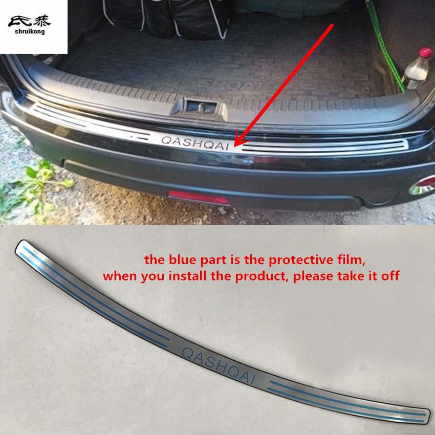 Bezpłatna dostawa przy 2007-2009 2011-2013 Nissan Qashqai J10 MK1 z płytą tylną ze stali nierdzewnej tylny próg bagażnika Scuff płyta ochronna pod silnik pedał