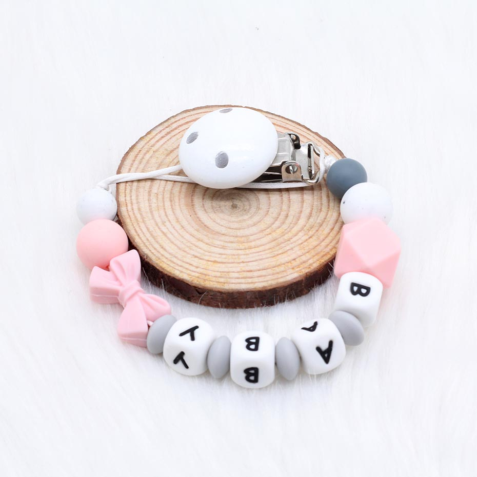 Personalized Name Handmade Pacifier Clips Holder Chain Silicone Pacifier Chains Safe Teething Chain  Baby Teether Teething Chain