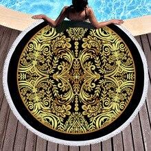 купить HOT ound Beach Towel Mandala Bronzing Flower Geometric Printed Tassel Yoga Mat Towel Microfiber Blanket 150cm по цене 1357.99 рублей