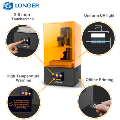 sla impressora acessivel longer orange10 3d 3d