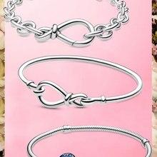 Лучшие продажи 6 стилей 925 стерлингового серебра в форме сердца серебряная цепочка, браслет для женщин, платье для женщин, оригинальный Pamura ш...