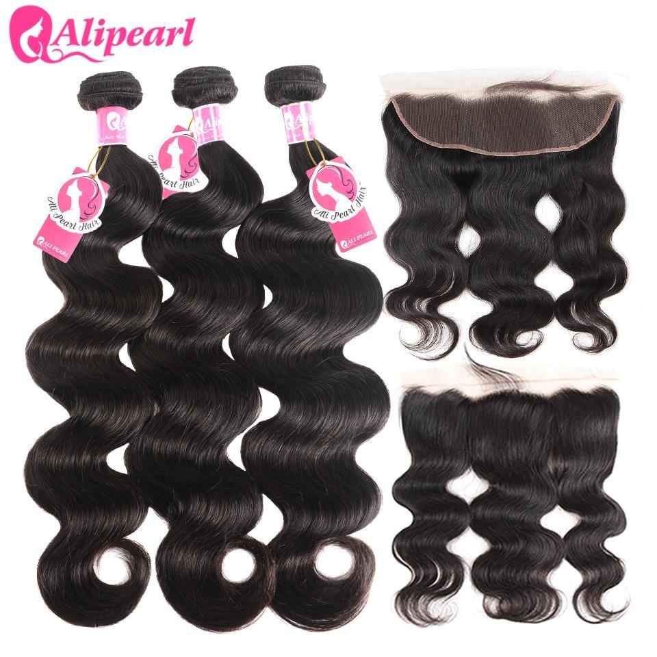 H9020ebf908274d99a2bbc47ae0405a24k AliPearl Brazilian Body Wave 3 Bundles With Frontal Closure Brazilian Hair Weave Bundles With Frontal 13x4 Remy Hair Extension