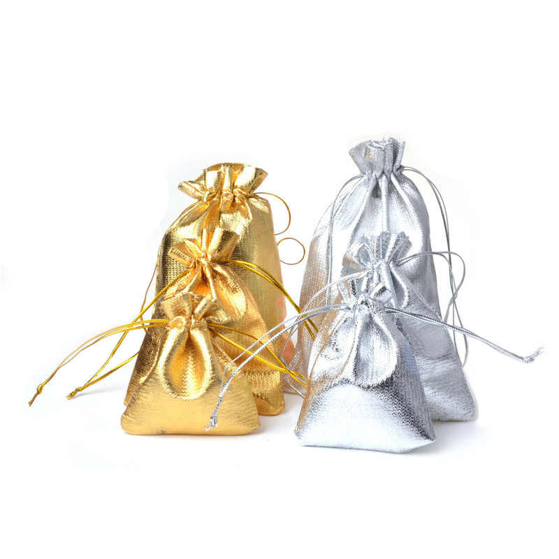 13x18 15x20 17x23 20x30cm Sacos Do Presente Com Cordão Metálico Folha De Organza Malotes presentes do Partido Do Favor Do Casamento Sacos de Doces de natal