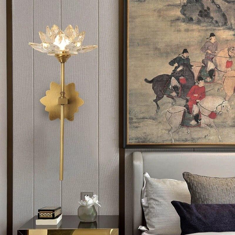 Светодиодный настенный светильник с медным кристаллом, современный цветочный светильник для гостиной, лестницы, настенный светильник для прохода, ванная комната, настенное бра 90-260 В, украшение для дома