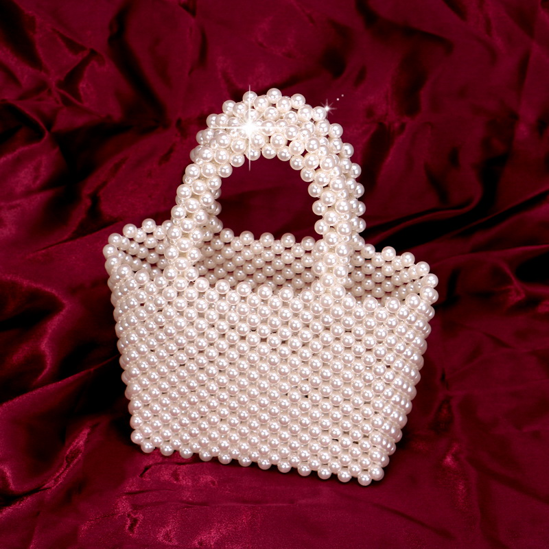 SEKUSA Fashion Wedding Beading Clutch Purse Imitation Pearl Evening Bags With Handle Handbags