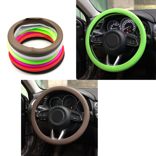 Car Soft Silicon Steering Wheel Cover For DACIA SANDERO STEPWAY Dokker Logan Duster Lodgy 1