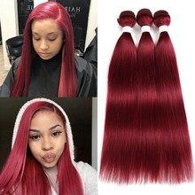 Прямые волосы, пряди, 1/3 шт., 99J красный Бург, 4 натуральных цвета, бразильские Remy человеческие волосы для наращивания, пряди, волосы для наращи...