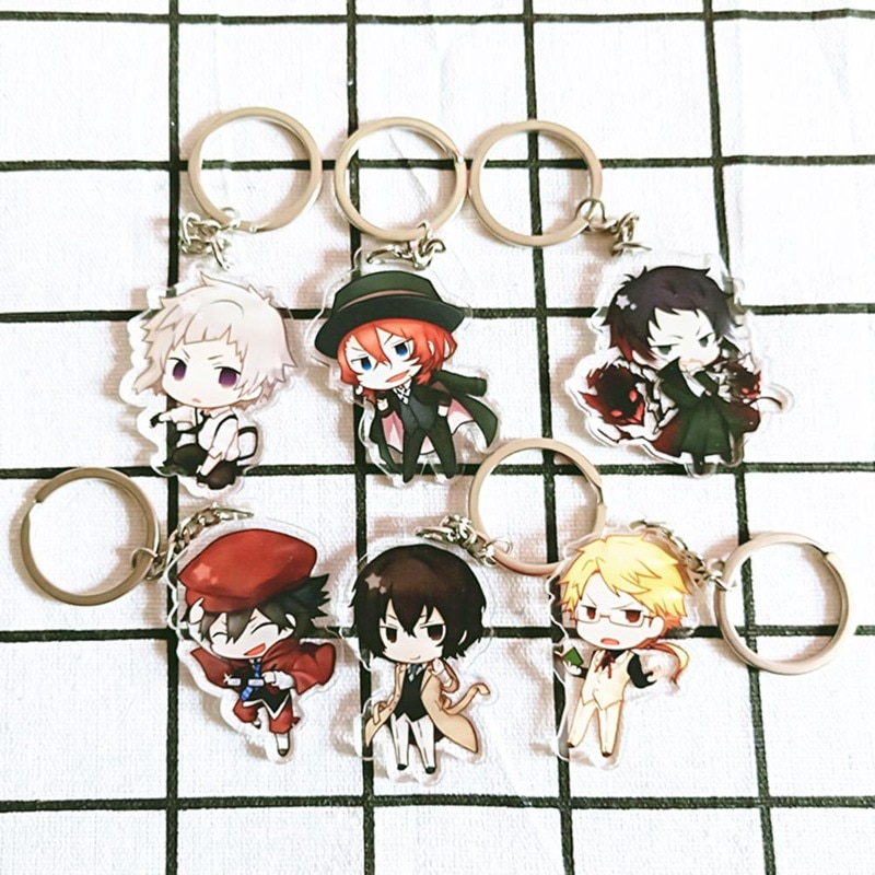 Japanese Anime Bungo Stray Dogs Keychain Cartoon Figure Pendants Collection Keyring