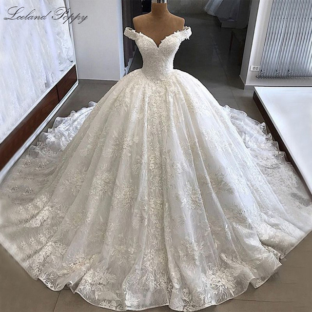 Lceland 양귀비 레이스 Appliques 볼 가운 웨딩 드레스 2020 어깨에서 골치 아픈 건 바닥 길이 Vestido 드 Novia 신부 가운
