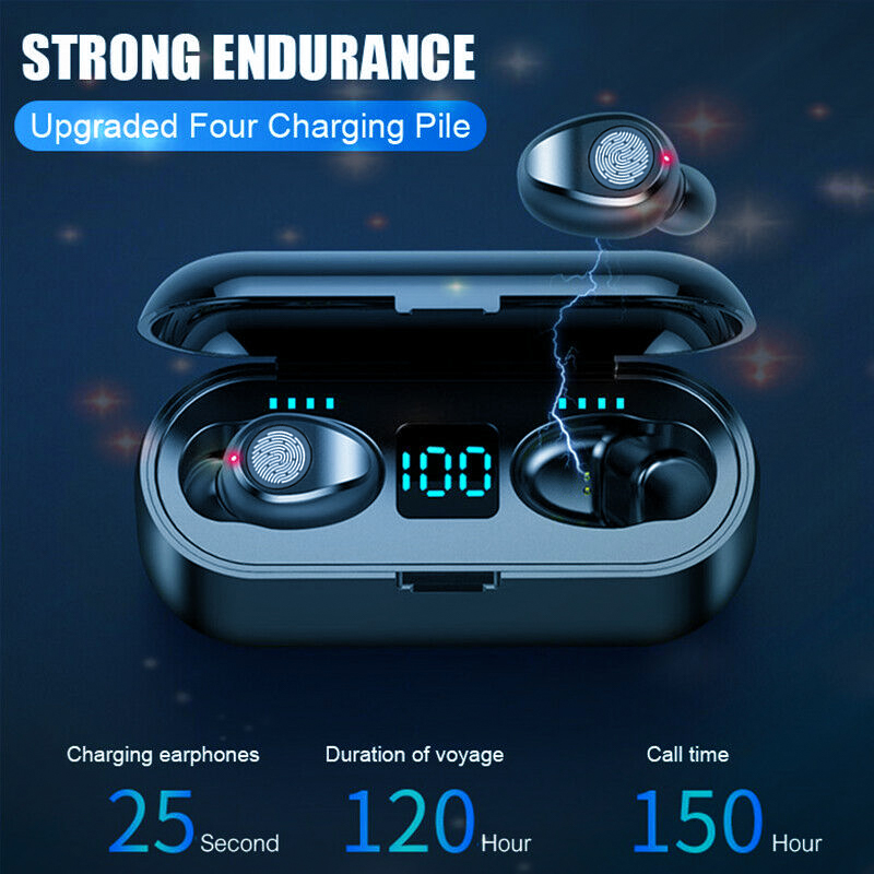 Wireless Headphone Hifi Bluetooth super bass Earphone headset touch control Earbuds F9 for huawei pk i30 i80 tws