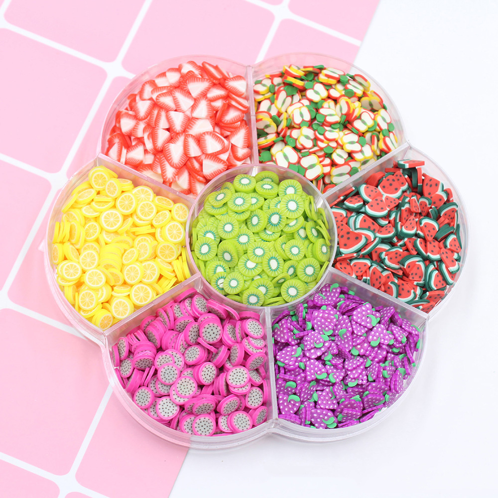 1Box Fimo Polymer Fruits Slice Hot Clay Sprinkles For Crafts Slime Material Accessories DIY Nail Arts Fake Cake Decoration 5*1mm