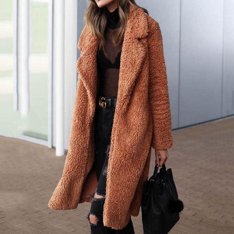 2020 осеннее длинное зимнее пальто женское пальто из искусственного меха женская теплая Дамская меховая плюшевая куртка женское плюшевое пальто размера плюс верхняя одежда|Куртки из искусственного меха| | АлиЭкспресс