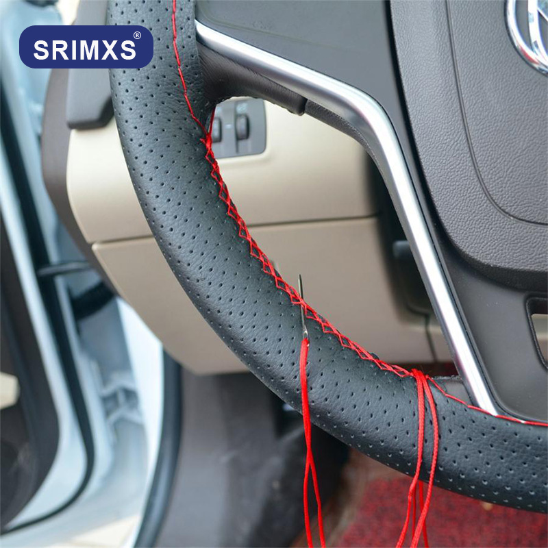 Car Steering Wheel Cover 4-color DIY with Needle and Thread Artificial Leather Car Modeling Covers 36cm 38cm 40cm Steering Wheel