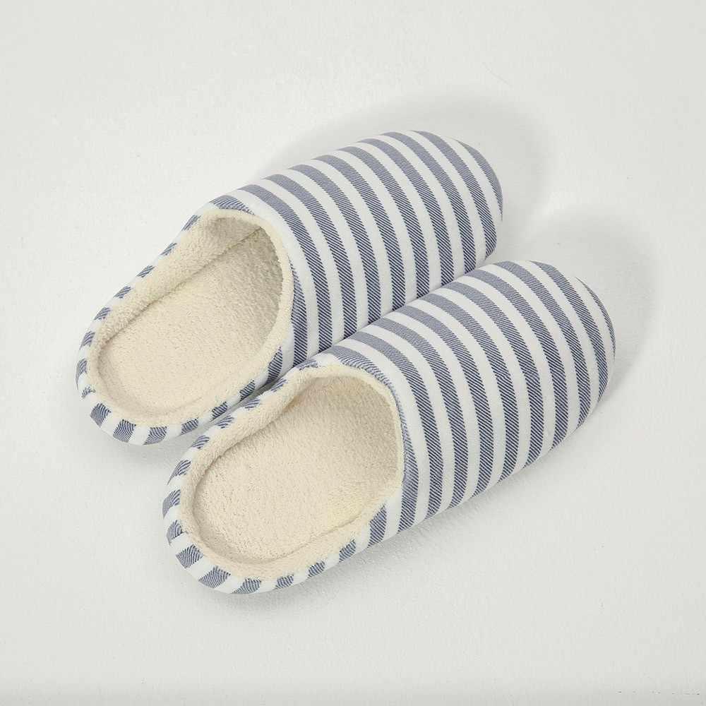 Vrouwen Indoor Slippers Korte Pluche Lente Herfst Platte Schoenen Vrouw Thuis Slaapkamer Slides Gestreepte Slip Op Vrouwelijke Huis Vloer Slippers