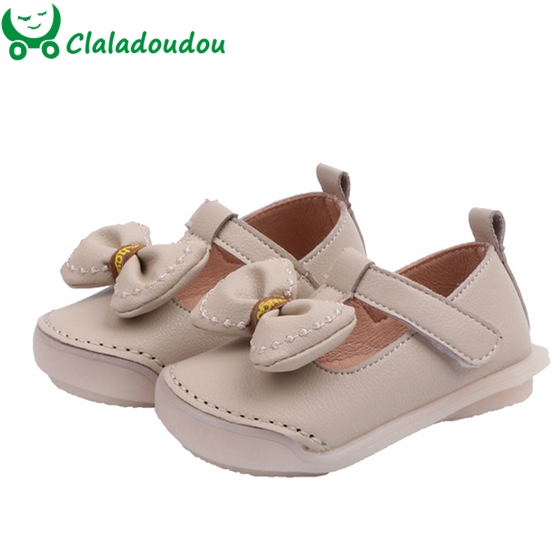 Kids Girls Width Toe Pu Leather Shoes Baby Comfortable Strap Shoes For Infant Girls Butterfly-knot Flats Claladoudou 12-14cm
