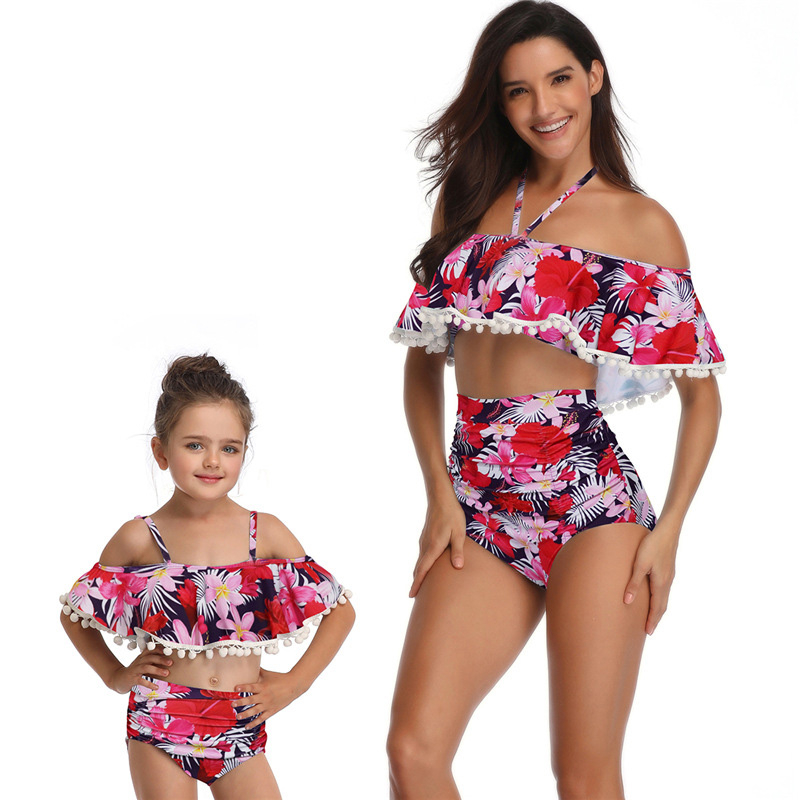 Efaster Toddler Baby Girls Striped Bowknot Swimwear Hang Neck Bikini Swimsuit