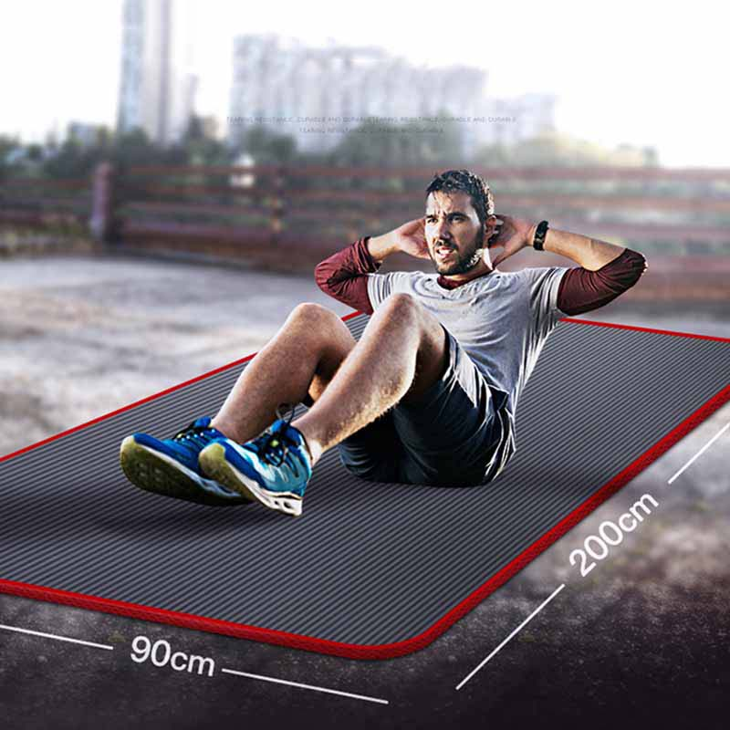 200*90cm*10mm NBR Men Fitness Mat Non-slip Edge-covered Yoga Mats For Beginners Sports Gym Pilates Pads Exercise Sport Carpet