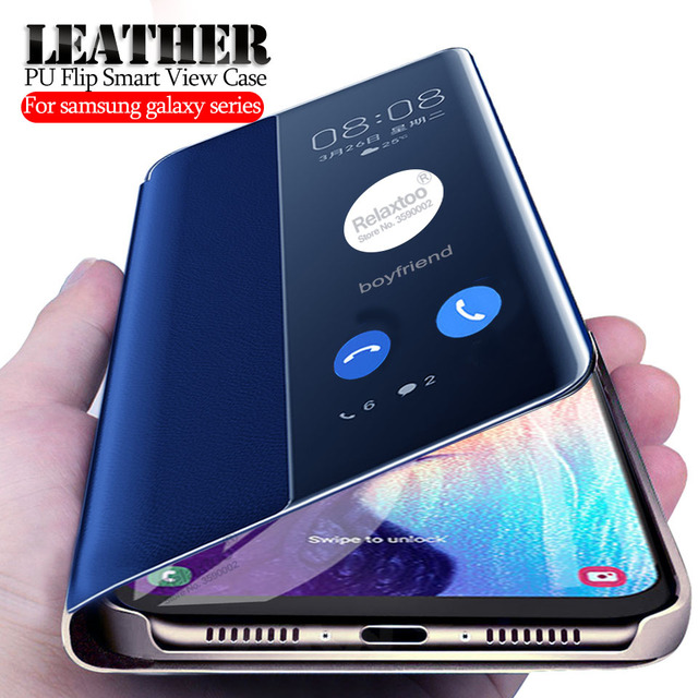 Leather PU Flip Case For samsung galaxy A50 a10 a20 a30 a40 a60 a70 2019 cover on the a 30 50 70 smart Window View cases coque