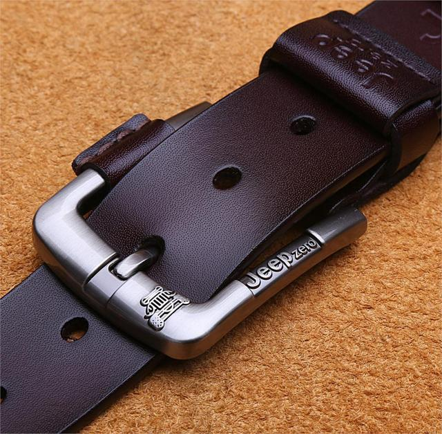 Designer Jeep zero 100% Upper Genuine Leather Alloy Pin Buckle Belt For Men