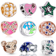 New Arrived Colorful DIY Panda Owl Mouse Flowers Stars Enamel Beads Fit Pandora Charms Bracelets for Women Lover Berloques Gifts(China)