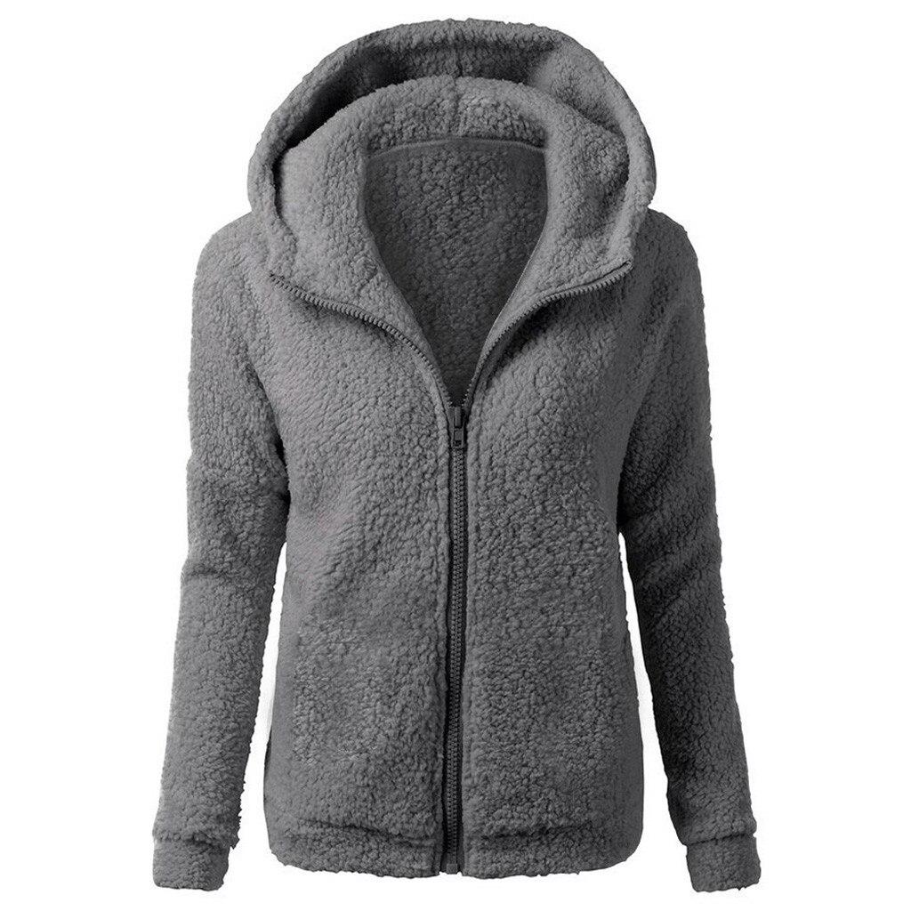 Women Hoodies Coat Fashion Winter Plush Fleece Warm Hooded Coat Wool Zipper Coat Cotton Outwear women manteau femme hiver