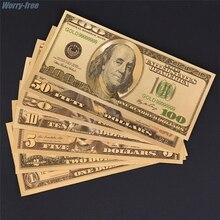 Долларовое украшение, античное покрытие, Золотая коллекция, искусственные деньги, сувенир 7 шт./компл. 1 2 5 10 20 50 100, европейские люди, металл