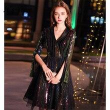 Это коктейльное платье Yiya с v-образным вырезом три четверти женское платье коктейльные платья плюс размер блесток длиной до колен коктейльные платья E804