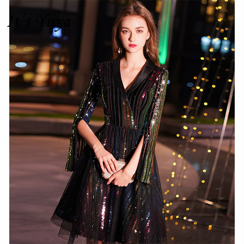 It's Yiiya Cocktail Dress 2019 V-Neck Three-Quarter Woman Robe Cocktail Dresses Plus Size Sequin Knee-Length Cocktail Gowns E804