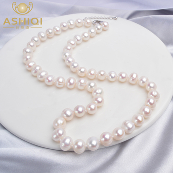 ASHIQI Natural freshwater pearl Necklace  Near round pearl jewelry for women gift jiuduo exquisite pure natural freshwater pearl for women brooch for dance occasions