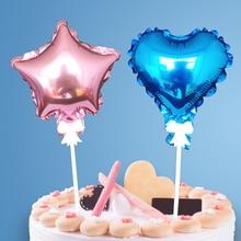 3 шт./лот 5 дюймов сердце или Звезда Форма шар торт Топпер украшение для дня рождения торт Декор кекс топперы свадебные принадлежности