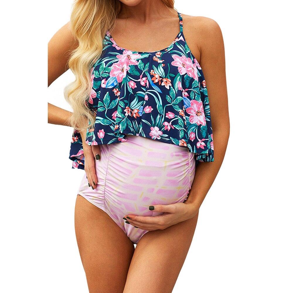 2021 roupa de banho plus size floral dividir triângulo duas peças maiô maternidade plus size sexy maiô