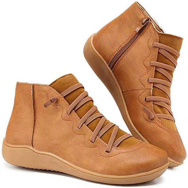 Botines de piel sintética para mujer, botas con cordones y correa cruzada, para primavera y otoño, WJ003