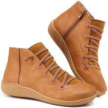 Damskie buty do kostki PU skórzane buty Femme pasek krzyżowy zasznurowane buty dziewczęce wiosenne jesienne buty damskie WJ003