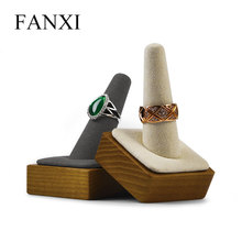 Oirlv Solid Wooden Ring Display Holder with Microfiber Finger Shape Single Ring Stand Jewelry Exhibition