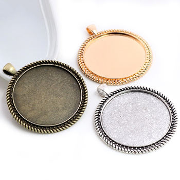 5pcs/lot 40mm Inner Size Antique Bronze and Silver colors plated New Fashion Style Cabochon Base Setting Charms Pendant