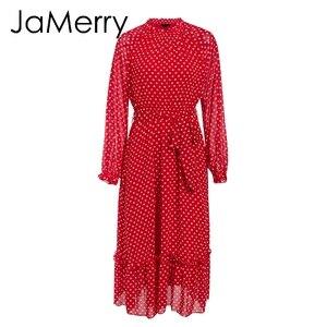 Image 3 - Jamerryヴィンテージ秋の女性のパーティーロングマキシドレスエレガントなランタンスリーブポルカドットプリントドレス休日のビーチスタイルのドレス
