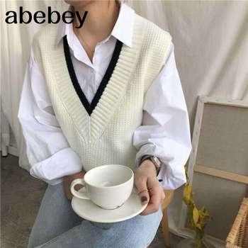 Chaleco de mujer a rayas con cuello en V 2020 tejido a diario con estilo estudiantes de estilo coreano prendas de vestir sin mangas mujeres abrigos todo-fósforo ocio