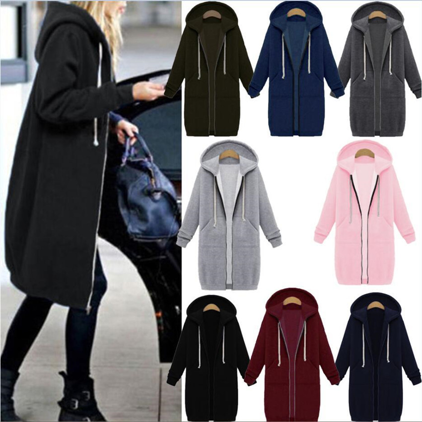 HEFLASHOR 2019 Autumn Winter Casual Women Long Hoodies Sweatshirt Coat Zip Up Outerwear Hooded Jacket Plus Size Outwear Tops