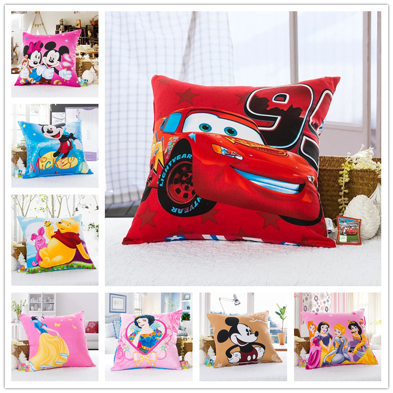 Lightning McQueen Car Square Pillow for Kids Bedroom Decor Cotton Shell Cover Back Cushion Case Childrens Bed Baby Boys