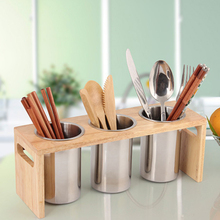 Multifunction Kitchen Countertop With Base Drain Stainless Steel Easy To Clean Mildew Proof Cutlery Holder Flatware Organizer