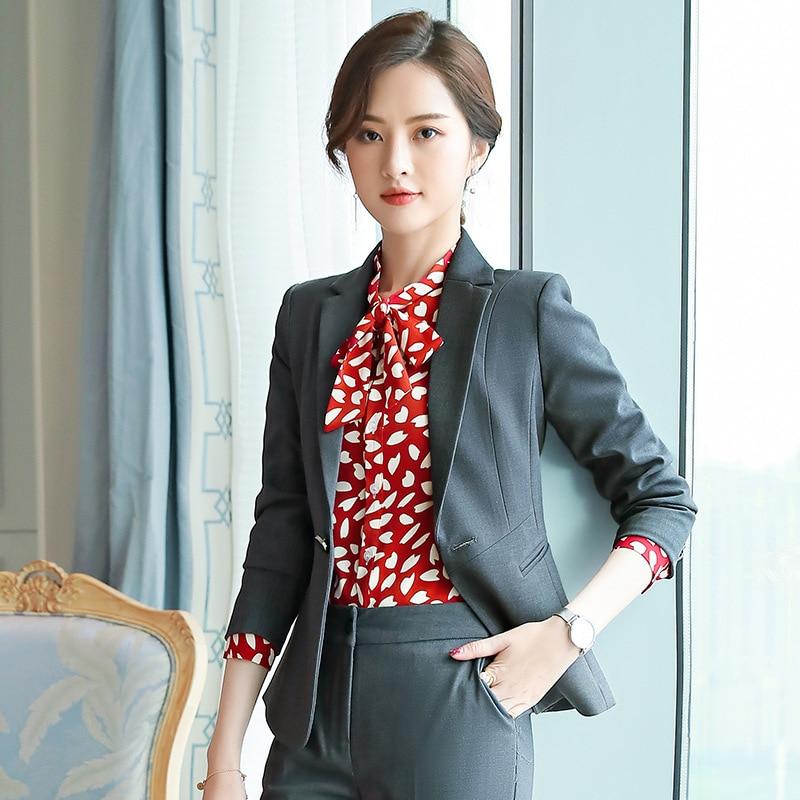 Gray Formal Elegant Women's 2Piece Set Formal Pants Suits Blazer Jacket Office Lady Work Business Uniform Trousers Clothing Blue