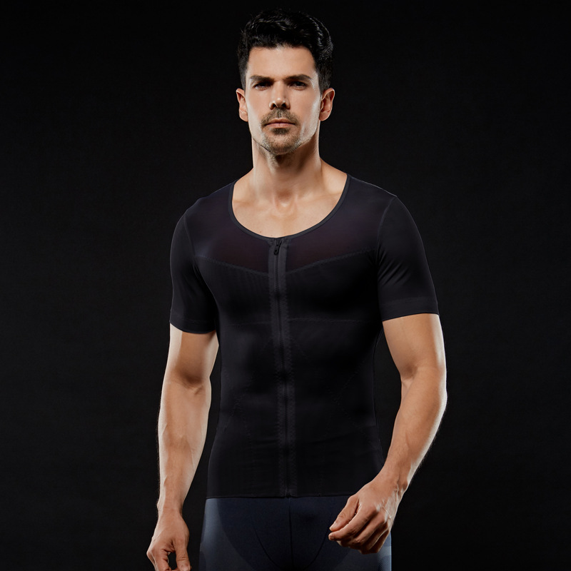 Image 4 - IYUNYI Men Body Shapers T shirt Lose Weight Slimming Tops Men Chest Shapers Belly Stomach Shapewear Posture Corrector T Shirt-in Shapers from Underwear & Sleepwears on AliExpress