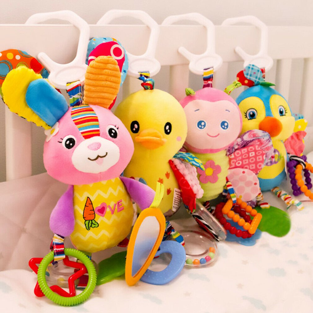Baby Toys 0-1 Year Old Trailer Animal Doll Bed Hanging Plush Toy Rattle Appease Bed Bell Children's Toys