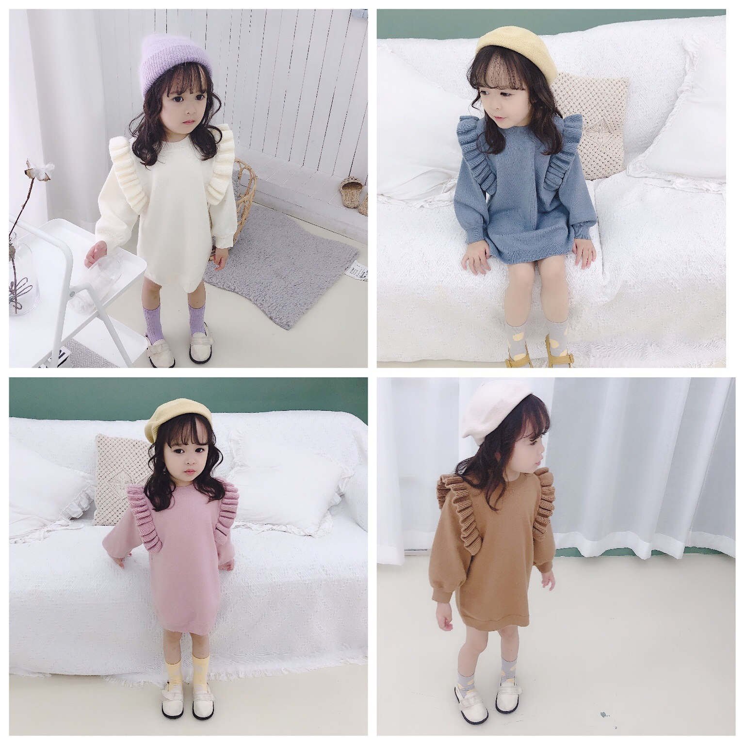 YM19 Autumn New Style Childrenswear Girls Frilled Pullover Sweater Baby Loose Jersey Dress Sweater